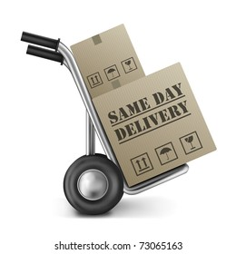 same day delivery cardboard box on sack truck isolated on white fast shipping of online internet order from web shop