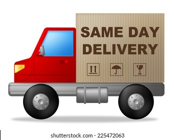 Same Day Delivery Indicating Logistics Distribution And Freight