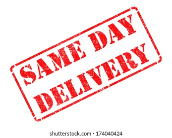 Same Day Delivery on Red Rubber Stamp Isolated on White.