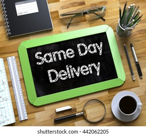 Same Day Delivery - Text on Small Chalkboard. 3d Rendering.