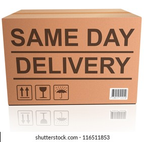 same day package delivery cardboard box with text icon for web shop fast shipping of internet order ecommerce