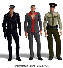 same man in three different costumes: Biker, Dressman, Policeman. Mix'n'Match. With clipping path and shadow over white