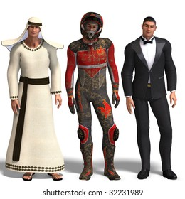 same man in three different costumes: Beduin, Racer, Tux. Mix'n'Match. With clipping path and shadow over white