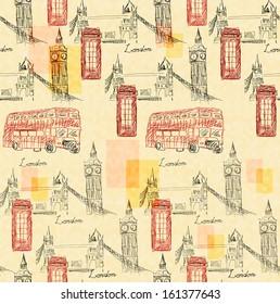 Sameless background with Big Ben, bridge, phone box and the inscription London