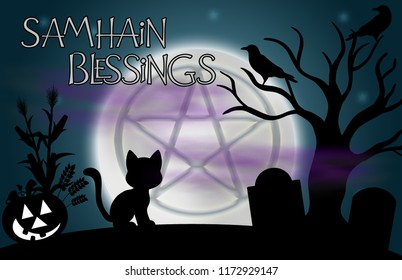"""Samhain Blessings"" illustration.  Beautiful glowing moon with the image of a pentacle in the centre and surrounded by silhouetted tree, ravens, grave stones, a pumpkin, and a cat."