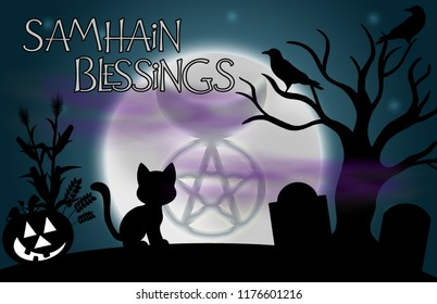 """Samhain Blessings"" illustration.  Beautiful glowing moon with the image of the Horned God in the centre and surrounded by silhouetted tree, ravens, grave stones, a pumpkin, and a cat."
