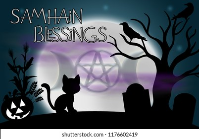 """Samhain Blessings"" illustration.  Beautiful glowing moon with the image of the Goddess in the centre and surrounded by silhouetted tree, ravens, grave stones, a pumpkin, and a cat."