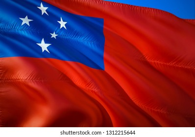 Samoa flag. 3D Waving flag design. The national symbol of Samoa, 3D rendering. Samoa 3D Waving sign design. Waving sign background wallpaper. 3D pattern background download HD wallpaper
