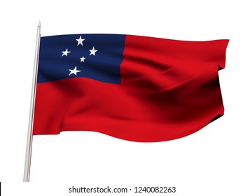 Samoa flag floating in the wind with a White sky background. 3D illustration.