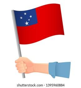 Samoa flag in hand. Patriotic background. National flag of Samoa  illustration
