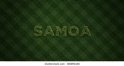 SAMOA - fresh Grass letters with flowers and dandelions - 3D rendered royalty free stock image. Can be used for online banner ads and direct mailers.