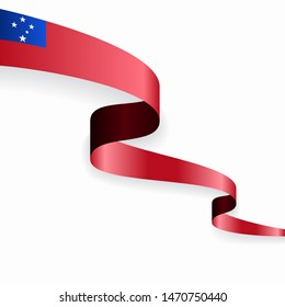 Samoan flag wavy abstract background layout. Raster version.