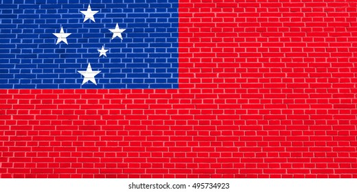 Samoan national official flag. Patriotic symbol, banner, element, background. Accurate dimensions. Correct size, colors. Flag of Samoa on brick wall texture background