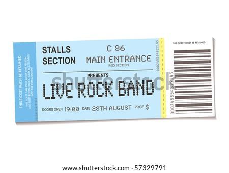 sample concert ticket realistic look date stock illustration