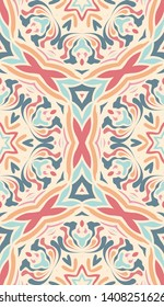Sample design for wallpaper, tile, packaging, background. Light ethnic seamless ornament in arabic style. Creative fabric, textiles. Handmade kaleidoscope. Flower motif, lines.