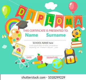 Sample Diploma and certificate for Kindergarten, Preschool, Elementary school and other Kids with different school elements. Template gor your design. Raster copy.