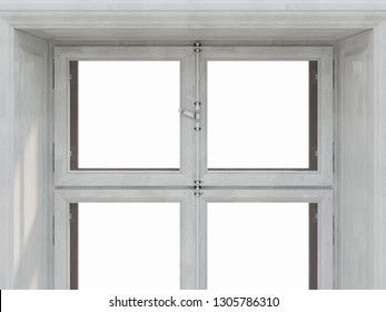 The sample window on white background, 3d illustration