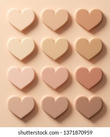 Samples of foundation, concealer, tone, in the shape of a heart. Smears of foundation for face.A smears of lipstick. Cosmetic smears of liquid. 3D illustration.