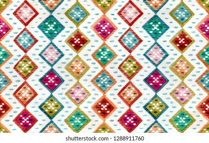 Samples of the national Bulgarian ornament, made in watercolor. Seamless pattern.