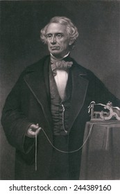 Samuel F. B. Morse (1791-1872), inventor of the magnetic telegraph. Steel engraving by John Sartan.