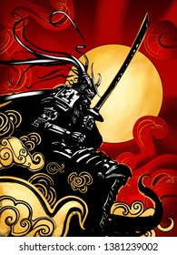 Samurai in armor with a katana stands against the Golden sun and bloody sky