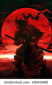 samurai battle scene red sunset digital art style, samurai warrior illustration painting