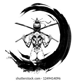 """Samurai girl in a circle,the characters mean """"the way of the warrior"""" in Japanese"""