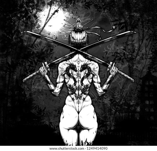 Samurai Girl Darkthe Characters Mean Way Stock Illustration