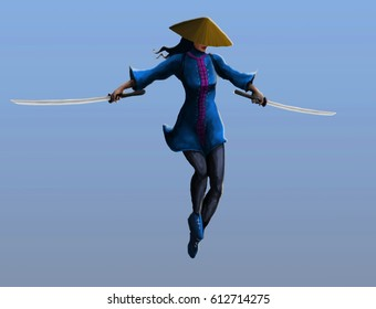 A samurai girl makes a jab in the jump