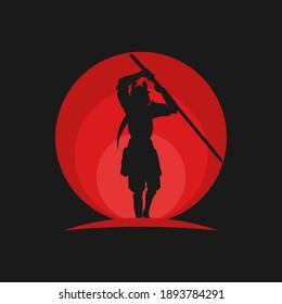 samurai illustration with Japanese sun background