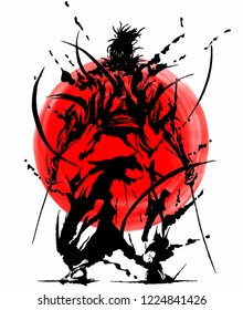 Samurai illustration silhouette with red circle. Japan, Japanese flag as a background