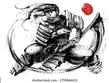 A samurai with a katana in Japanese armor stands ready to use his weapon, standing in a low stance, his hair flying in the wind. 2D