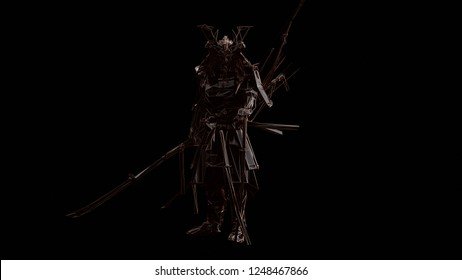 Samurai made out of Polygon Triangles with a Bronze Lattice Frame 3d illustration 3d render