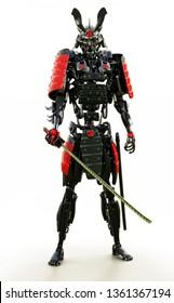 Samurai mechanized cyborg warrior on a white background. 3d rendering