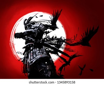 The samurai is set against a backdrop of bloody sunset