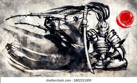 The samurai sits in a meditative pose, an ink army of samurai escaping from his blade. 2D illustration.