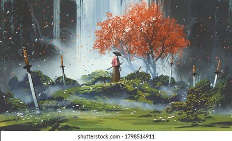 Samurai im Wasserfallgarten mit Schwertern auf dem Boden, digitale Kunst, Illustration