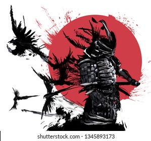 Samurai stands against the red sun and a flock of crows flying out of his back