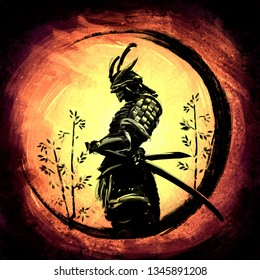 Samurai stands circled in an ink circle on a bright yellow background