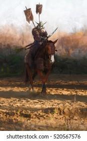 samurai warrior riding a horse