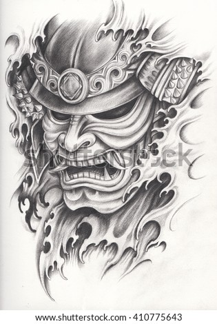 Samurai Warrior Tattoo Design Hand Pencil Drawing Stock Illustration
