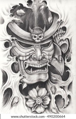 Samurai Warrior Tattoo Design Hand Pencil Drawing Illustration De