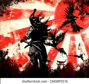 Samurai from which birds fly, stands against the backdrop of a bright sunset