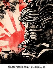 samurai woman on sunset background