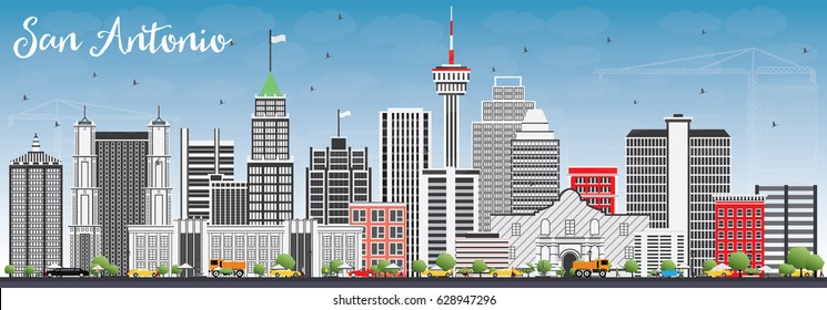 San Antonio Skyline with Gray Buildings and Blue Sky. Business Travel and Tourism Concept with Modern Architecture. Image for Presentation Banner Placard and Web Site.
