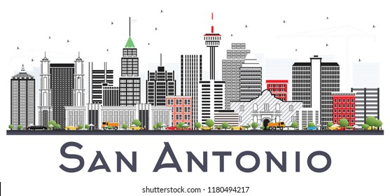 San Antonio Texas City Skyline with Gray Buildings Isolated on White. Business Travel and Tourism Concept with Modern Architecture. San Antonio Cityscape with Landmarks.