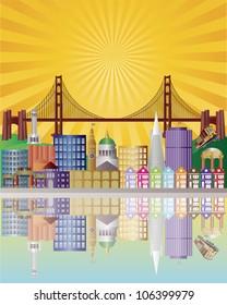 San Francisco California City Skyline with Golden Gate Bridge with Sunrise Background Raster Vector Illustration