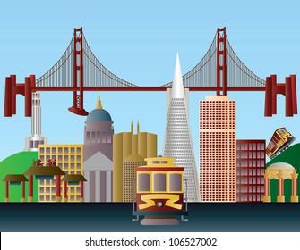 San Francisco California City Skyline with Golden Gate Bridge Raster Vector Illustration