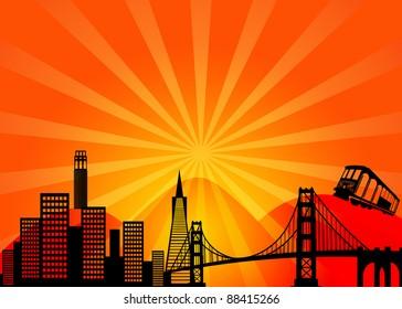 San Francisco California City Skyline and Golden Gate Bridge Illustration