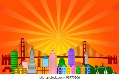 San Francisco California City Skyline Panorama Color Silhouette with Sun Rays Clip Art Illustration